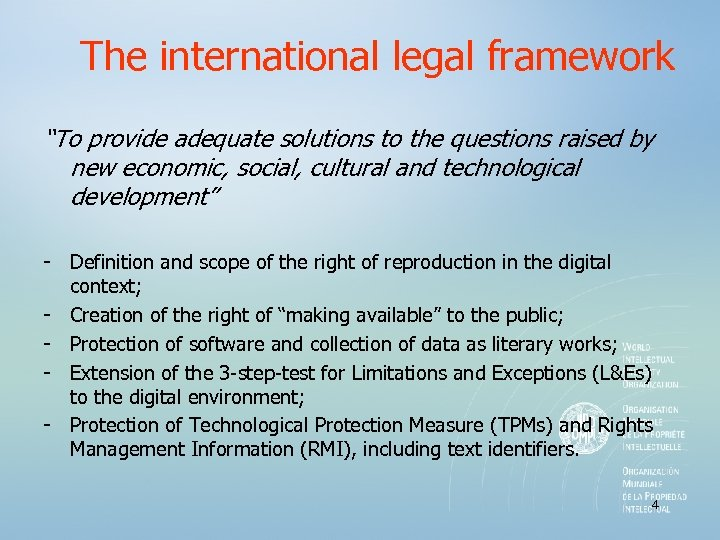 "The international legal framework ""To provide adequate solutions to the questions raised by new"
