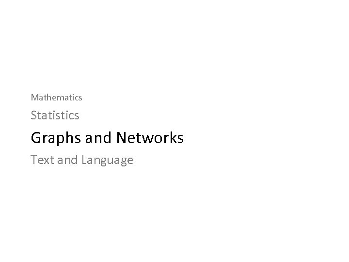 Mathematics Statistics Graphs and Networks Text and Language