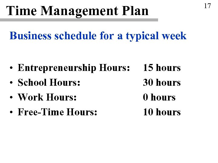 Time Management Plan Business schedule for a typical week • • Entrepreneurship Hours: School