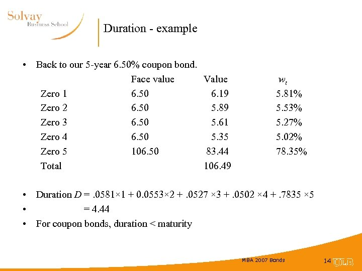 Duration - example • Back to our 5 -year 6. 50% coupon bond. Face
