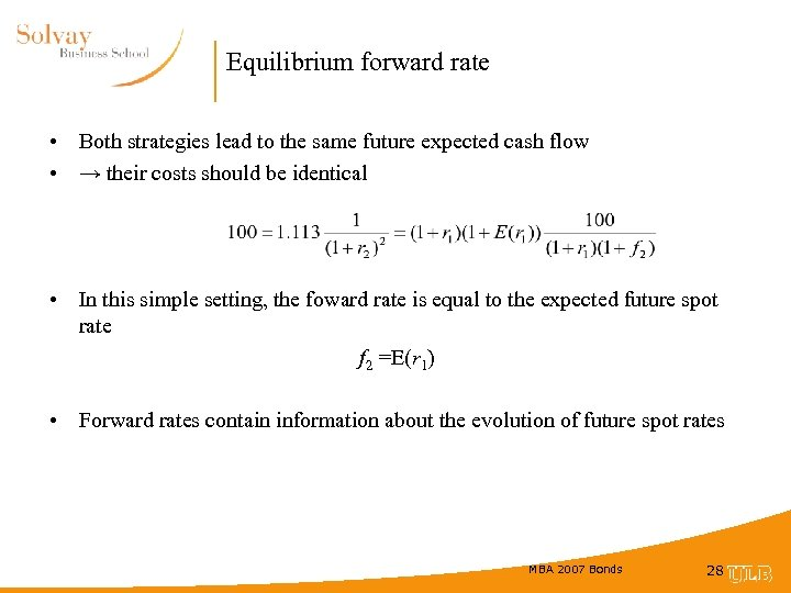 Equilibrium forward rate • Both strategies lead to the same future expected cash flow
