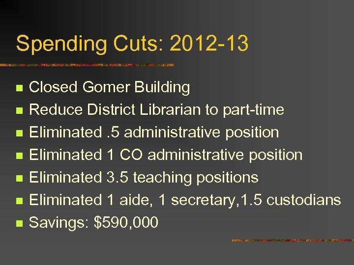 Spending Cuts: 2012 -13 n n n n Closed Gomer Building Reduce District Librarian