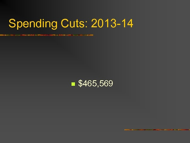 Spending Cuts: 2013 -14 n $465, 569
