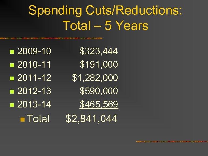 Spending Cuts/Reductions: Total – 5 Years n n n 2009 -10 2010 -11 2011