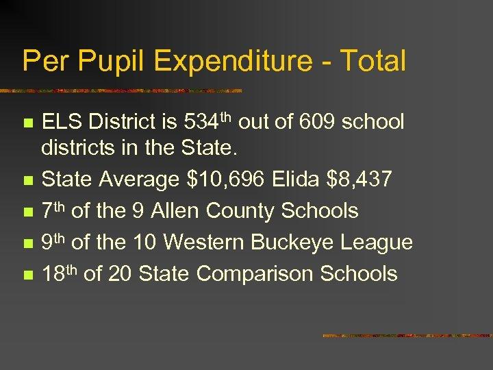 Per Pupil Expenditure - Total n n n ELS District is 534 th out
