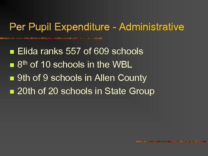 Per Pupil Expenditure - Administrative n n Elida ranks 557 of 609 schools 8