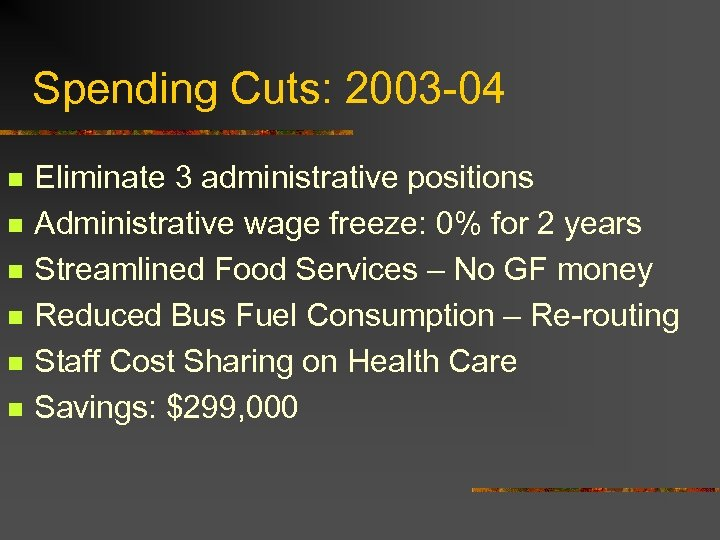 Spending Cuts: 2003 -04 n n n Eliminate 3 administrative positions Administrative wage freeze: