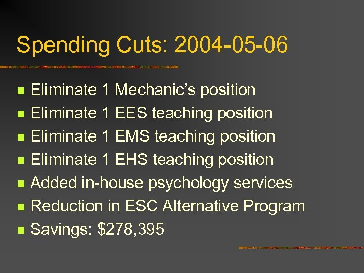 Spending Cuts: 2004 -05 -06 n n n n Eliminate 1 Mechanic's position Eliminate