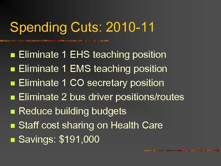 Spending Cuts: 2010 -11 n n n n Eliminate 1 EHS teaching position Eliminate