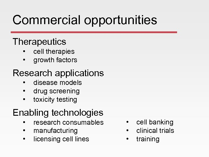 Commercial opportunities Therapeutics • • cell therapies growth factors Research applications • • •
