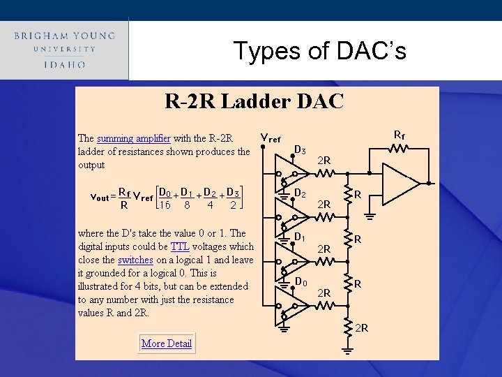 Click to edit Master title style Types of DAC's