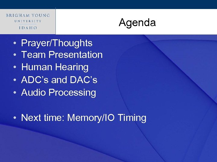 Click to edit Master title style Agenda • • • Prayer/Thoughts Team Presentation Human