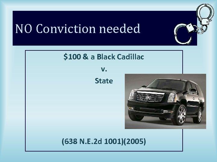 NO Conviction needed $100 & a Black Cadillac v. State (638 N. E. 2
