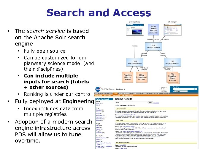 Search and Access • The search service is based on the Apache Solr search
