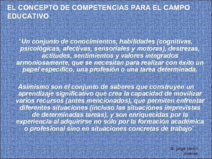 """EL CONCEPTO DE COMPETENCIAS PARA EL CAMPO EDUCATIVO """"Un conjunto de conocimientos, habilidades (cognitivas,"""