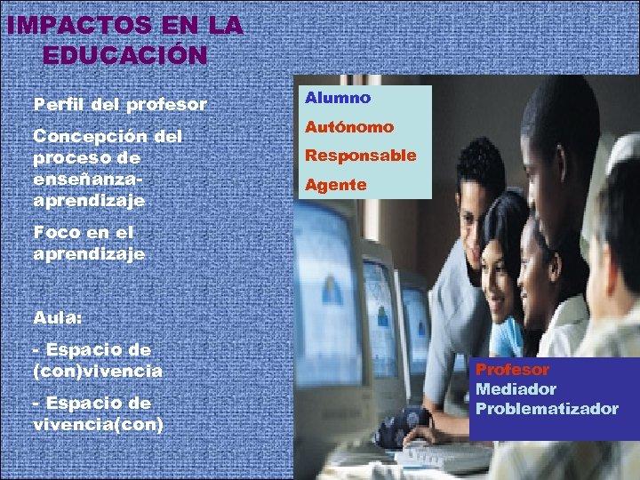 IMPACTOS EN LA EDUCACIÓN Perfil del profesor Concepción del proceso de enseñanzaaprendizaje Alumno Autónomo