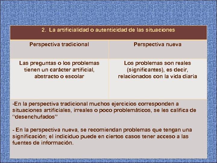 2. La artificialidad o autenticidad de las situaciones Perspectiva tradicional Perspectiva nueva Las preguntas