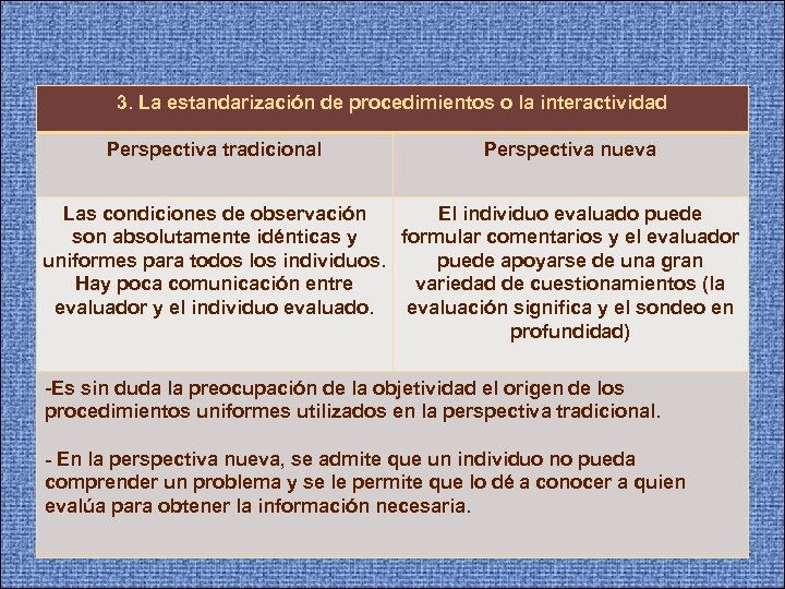 3. La estandarización de procedimientos o la interactividad Perspectiva tradicional Perspectiva nueva Las