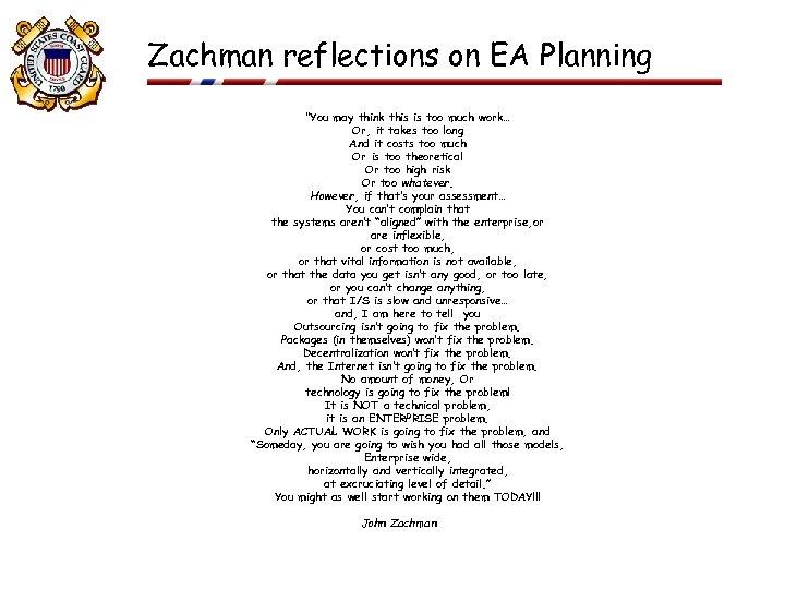 Zachman reflections on EA Planning