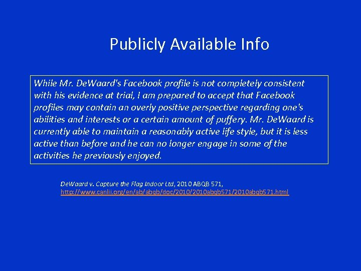 Publicly Available Info While Mr. De. Waard's Facebook profile is not completely consistent with