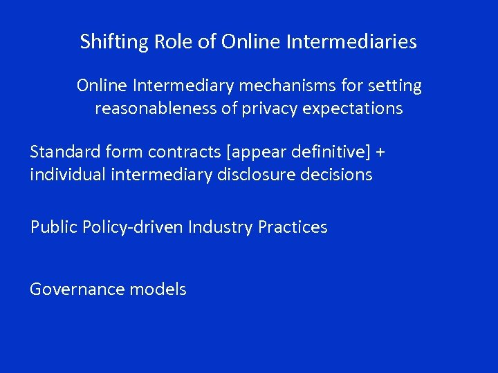Shifting Role of Online Intermediaries Online Intermediary mechanisms for setting reasonableness of privacy expectations