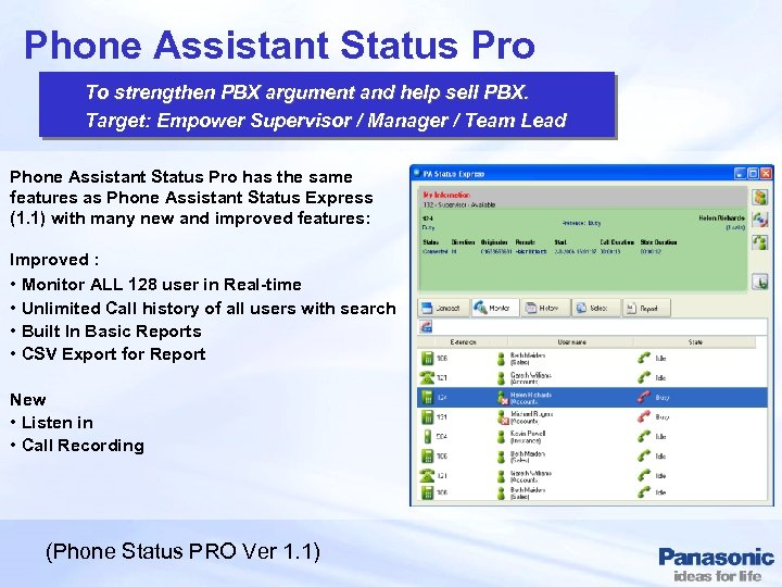 Phone Assistant Status Pro To strengthen PBX argument and help sell PBX. Target: Empower