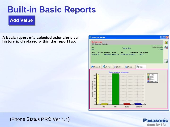 Built-in Basic Reports Add Value A basic report of a selected extensions call history