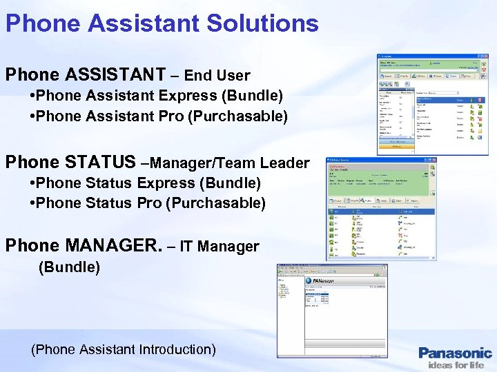 Phone Assistant Solutions Phone ASSISTANT – End User • Phone Assistant Express (Bundle) •