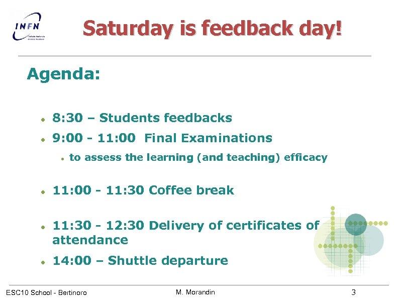 Saturday is feedback day! Agenda: 8: 30 – Students feedbacks 9: 00 - 11: