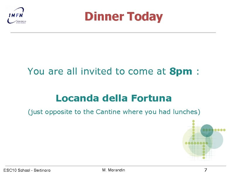 Dinner Today You are all invited to come at 8 pm : Locanda della