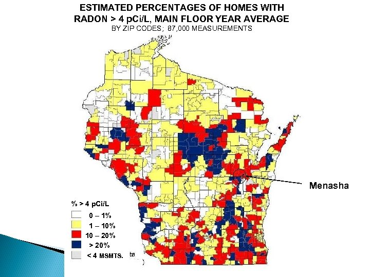 ESTIMATED PERCENTAGES OF HOMES WITH RADON > 4 p. Ci/L, MAIN FLOOR YEAR AVERAGE