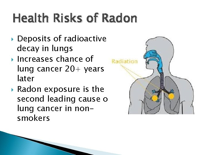 Health Risks of Radon Deposits of radioactive decay in lungs Increases chance of lung