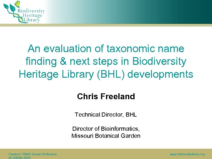 An evaluation of taxonomic name finding & next steps in Biodiversity Heritage Library (BHL)