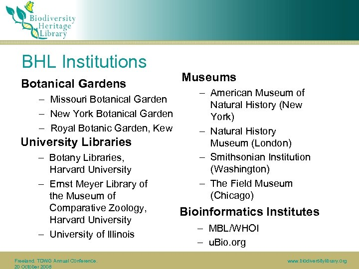 BHL Institutions Botanical Gardens – Missouri Botanical Garden – New York Botanical Garden –