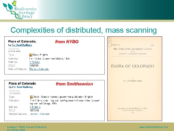 Complexities of distributed, mass scanning from NYBG from Smithsonian Freeland. TDWG Annual Conference. 20
