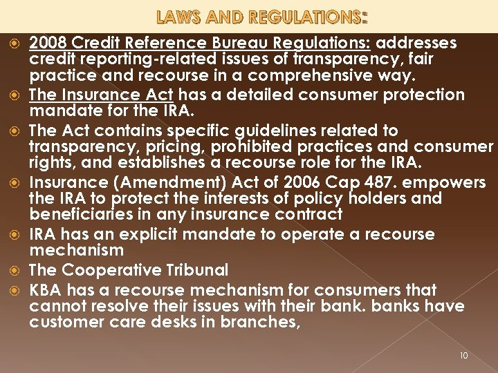 LAWS AND REGULATIONS: 2008 Credit Reference Bureau Regulations: addresses credit reporting-related issues of