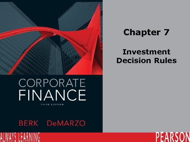 Chapter 7 Investment Decision Rules