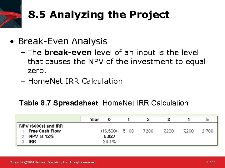 8. 5 Analyzing the Project • Break-Even Analysis – The break-even level of an
