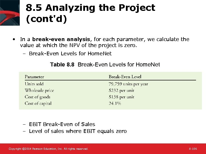 8. 5 Analyzing the Project (cont'd) • In a break-even analysis, for each parameter,