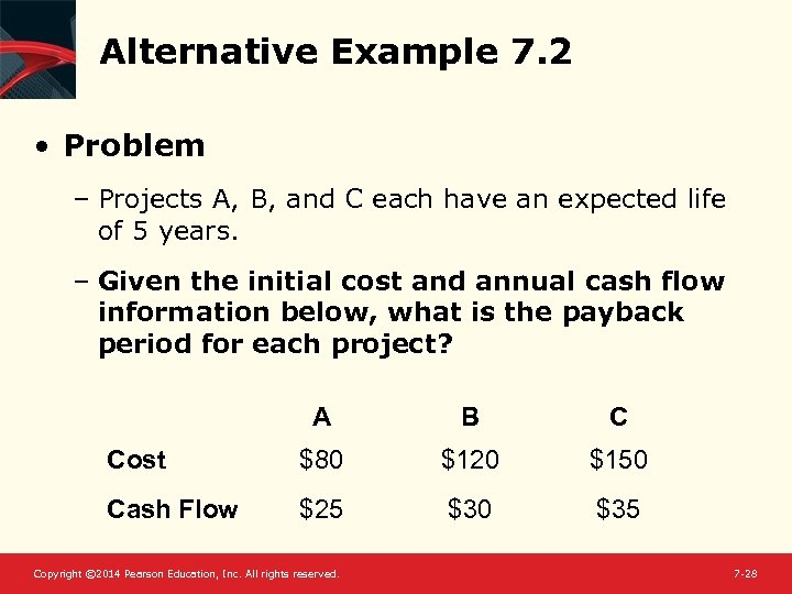 Alternative Example 7. 2 • Problem – Projects A, B, and C each have