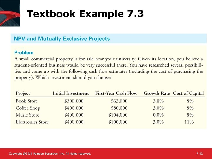 Textbook Example 7. 3 Copyright © 2014 Pearson Education, Inc. All rights reserved. 7