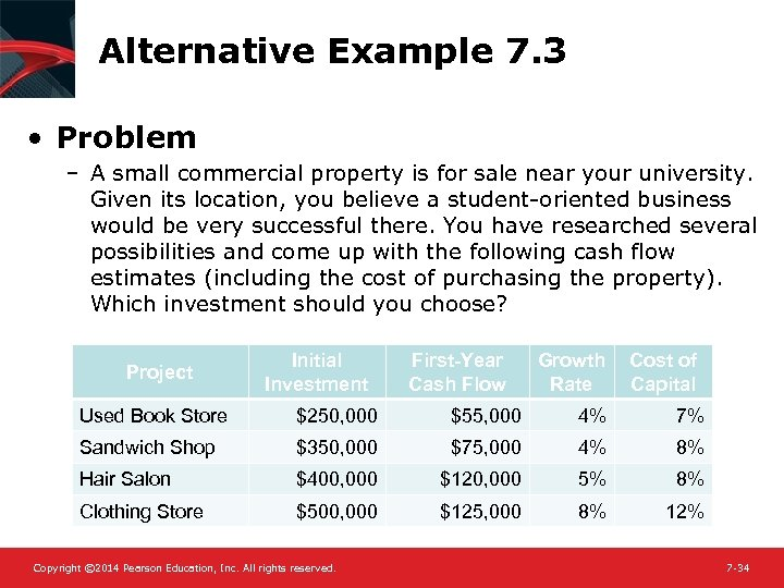 Alternative Example 7. 3 • Problem – A small commercial property is for sale