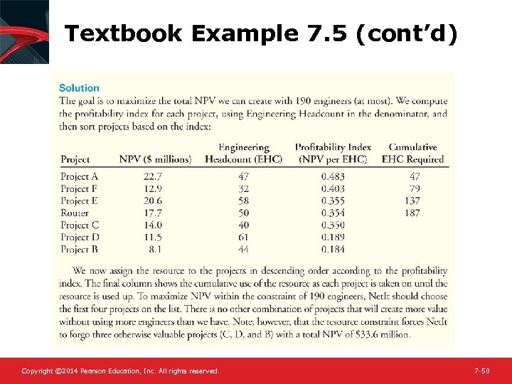 Textbook Example 7. 5 (cont'd) Copyright © 2014 Pearson Education, Inc. All rights reserved.