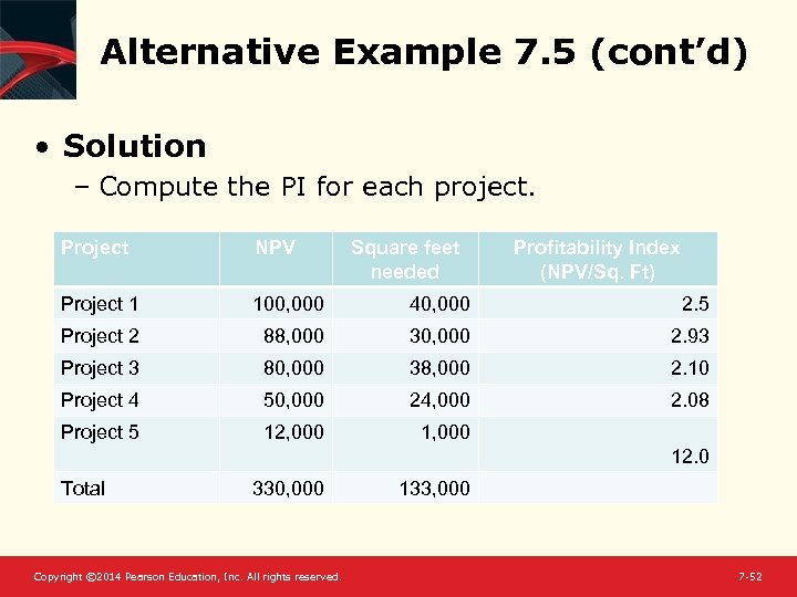 Alternative Example 7. 5 (cont'd) • Solution – Compute the PI for each project.