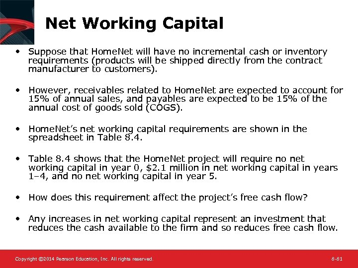 Net Working Capital • Suppose that Home. Net will have no incremental cash or