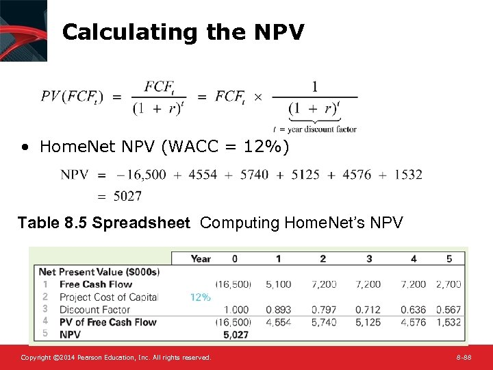 Calculating the NPV • Home. Net NPV (WACC = 12%) Table 8. 5 Spreadsheet