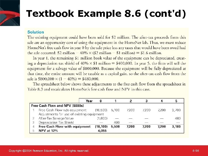 Textbook Example 8. 6 (cont'd) Copyright © 2014 Pearson Education, Inc. All rights reserved.