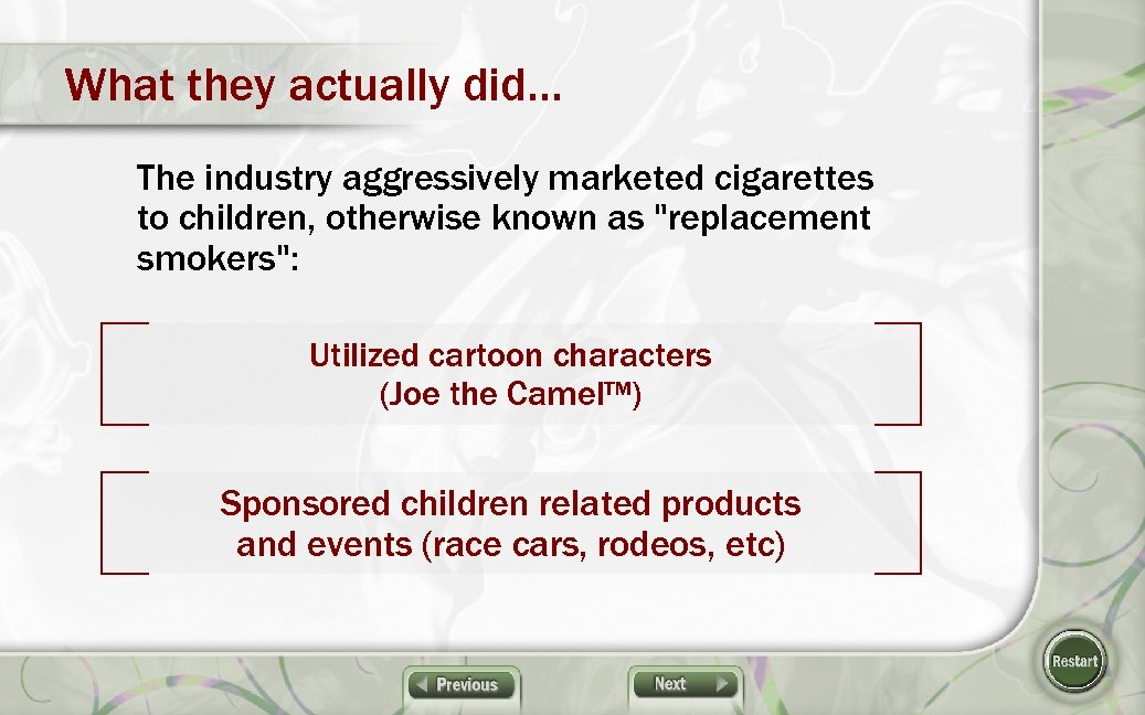 What they actually did… The industry aggressively marketed cigarettes to children, otherwise known as