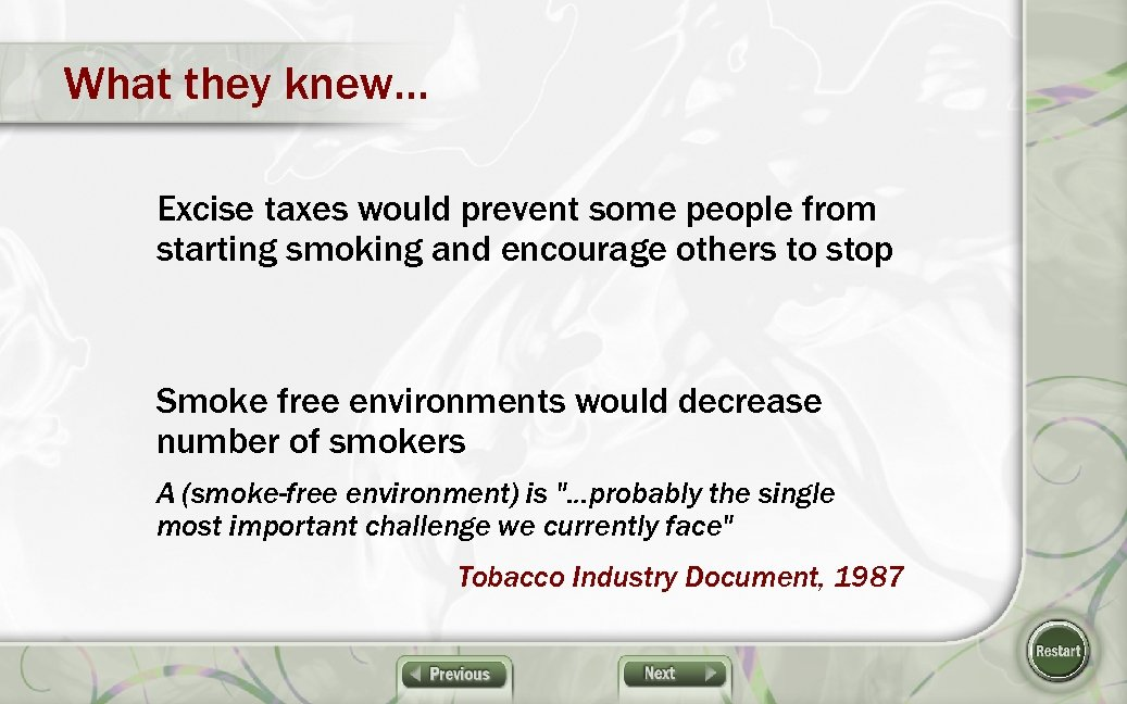 What they knew… Excise taxes would prevent some people from starting smoking and encourage
