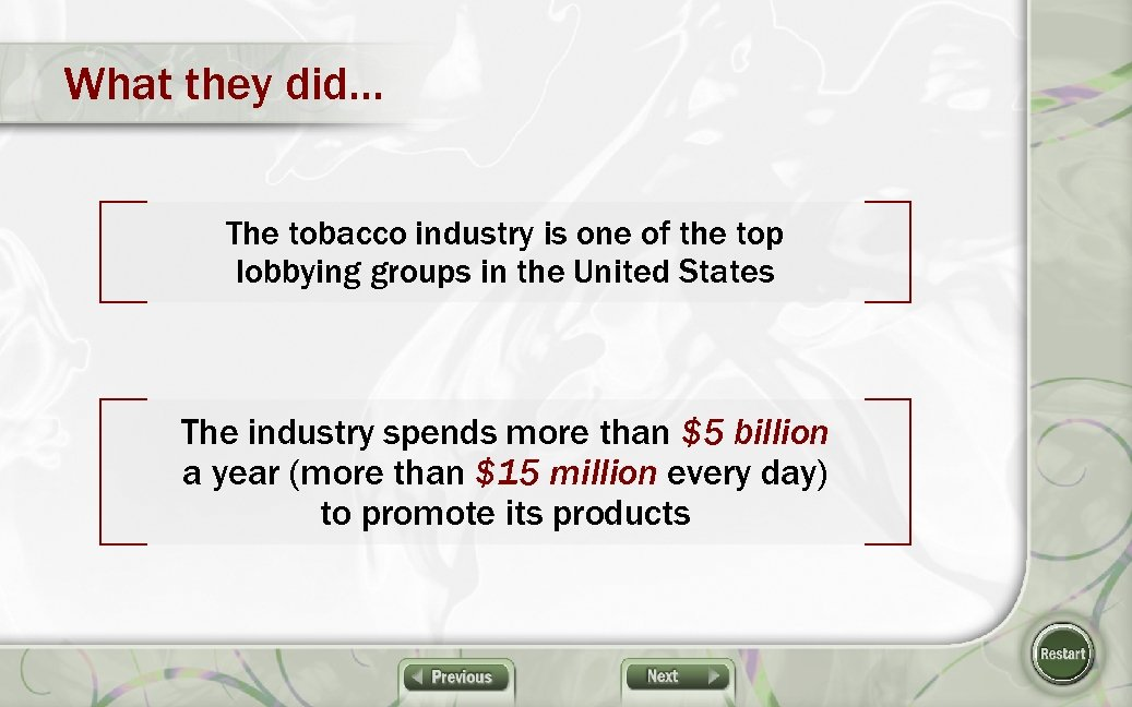 What they did… The tobacco industry is one of the top lobbying groups in